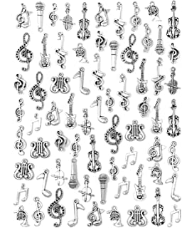 JIALEEY Music Charms 70pcs Multistyle Musical Instrument Notes Symbols Pendants DIY for Necklace Bracelet Earrings Jewelry Making and Crafting Antique Silver