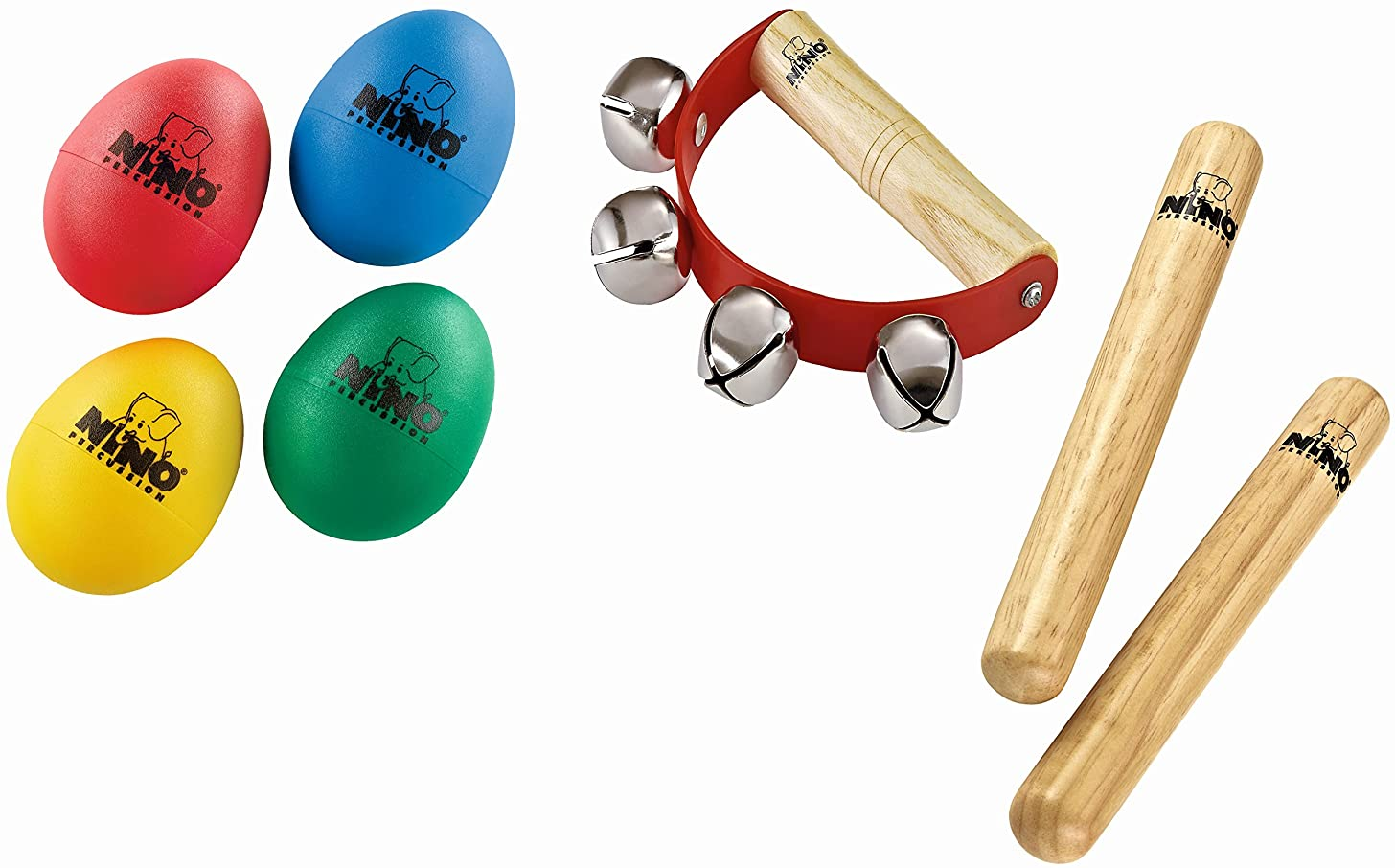 Nino Percussion NP-2 Claves, Egg Shakers, and Sleigh Bells Percussion Pack