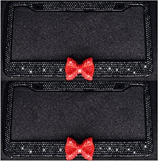 Bling Bling License Plate Frames -8 Row Pure Handmade Waterproof Glitter Rhinestones Crystal License Frames plate for Cars with 2 Holes with Screws Caps Set (2-Pack Red Bow)
