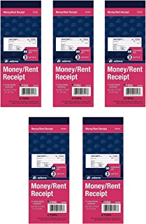 Adams Money/Rent Receipt Book, Carbonless, 3-Part, 2-3/4 x 7-3/16 Inches, 50 Sets per Book, 5 Books, 250 Sets Total (TC2701)