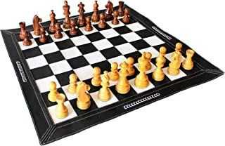 Stonkraft 19 X 19 Genuine Leather Roll-Up Tournament Chess Set - With Wooden Chess Pieces - Black Color