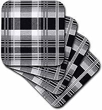 3dRose CST_173934_1 Image of Black & White Plaid Soft Coasters, (Set of 4)