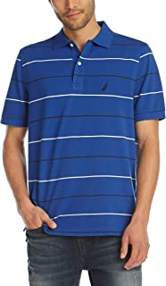 Men's Classic Fit Short Sleeve 100% Cotton Pique Stripe Polo Shirt