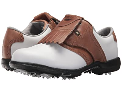 FootJoy DryJoys Cleated Traditional Blucher Saddle (White/Khaki/Luggage Brown) Women