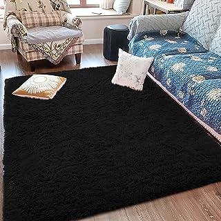 Fluffy Soft Kids Room Rug Baby Nursery Decor, Anti-Skid Large Fuzzy Shag Fur Area Rugs, Modern Indoor Home Living Room Floor Carpet for Children Boys Girls Bedroom Rugs, Black 4 x 6 Feet