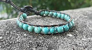 Turquoise leather bracelets,stone bracelets,blue bracelets,bracelets for men and women,fashion bracelets,wrap