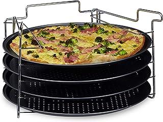 Relaxdays Pizzablech im 4er Set HBT: 20 x 32 x 32 cm Pizzab�