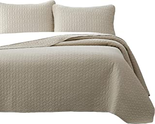 Vega Prewashed 2 Piece Quilted Quilt, Coverlet & Bed Cover Set, Stitched Pattern, Solid Color, Soft Microfiber Shell 100% Cotton Filling | Tan | Twin/Twin XL Size Bedspread