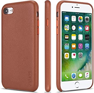 iPhone 7 Case iPhone 8 Case Rejazz Anti-Scratch iPhone 7 Cover iPhone 8 Cover Genuine Leather Apple iPhone Cases for iPhone 7/8 (4.7 Inch)(Brown)