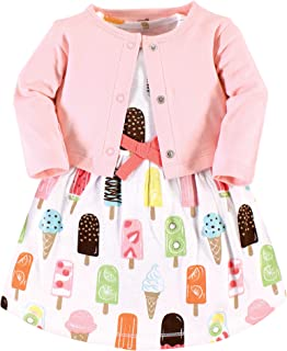 Touched by Nature Baby and Toddler Girl Organic Cotton Dress and Cardigan, Popsicle