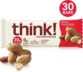 think! (thinkThin) High Protein Bars - Chunky Peanut Butter, 20g Protein, 0g Sugar, No Artificial Sweeteners, Gluten Free, GMO Free, 2.1 oz bar (30 Count - packaging may vary)
