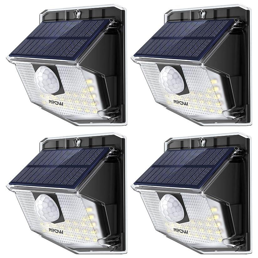 スイッチ溶けるのぞき穴Mpow ソーラーライト センサーライト 30led IP65防水 屋外照明 センサー時間30s 人感センサー 夜自動点灯 玄関 庭 駐車場 18ヶ月間保証 停電防災緊急対策 4個