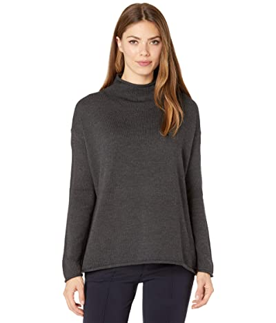 Eileen Fisher Funnel Neck Box Top (Charcoal) Women