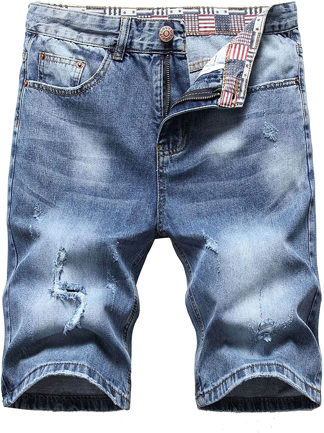 Burband Mens Jeans Shorts Ripped Distressed Denim Shorts Pants Casual Slim Fit Fashion Outdoor Lounge Stretchy Jeans