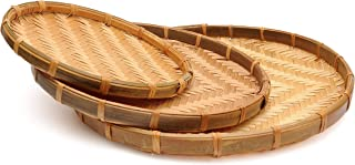 Set of 3 Vietnam Traditional Handmade Round Rattan Wicker Serving Basket Tray