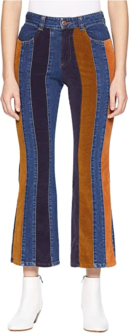 Striped Mixed Media Jeans in Multicolor