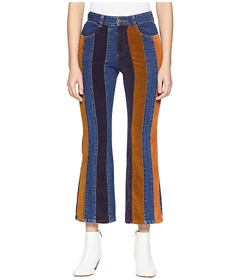 See by Chloe Striped Mixed Media Jeans in Multicolor