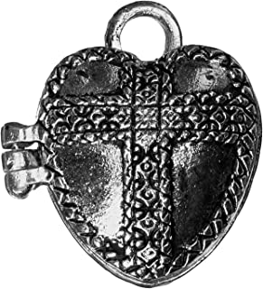 Darice Prayer Box Metal Charm 1/Pakage-Antique Silver Heart, Acrylic, Multicolour, 1.04x6.35x7.62 cm