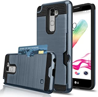 J.west LG G stylo 2 Case/LG stylo 2 Plus/LG Stylus 2 Plus LTE LG Stylo 2 V Wallet Case with Card Slot Holder Shock Proof Plastic TPU Hybrid Dual Layer Hard Cover Case for LG LS775 Plus -Navy Blue
