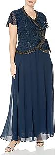 J Kara Women's Plus Size Beaded Flutter Sleeve Dress