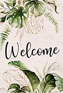 LARMOY Welcome Summer House Flags for Outside,28×40 Inch Vertical Double Sided,Decorative Watercolor Monstera Seasonal Yar...