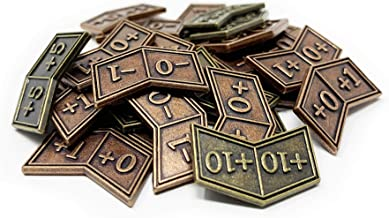 Set of 30 Metal MTG Expansion Buff Counters by Citadel Black - with Velvet Drawstring Pouch, Antique Gold and Copper Finish Metal Tokens, Magic: The Gathering