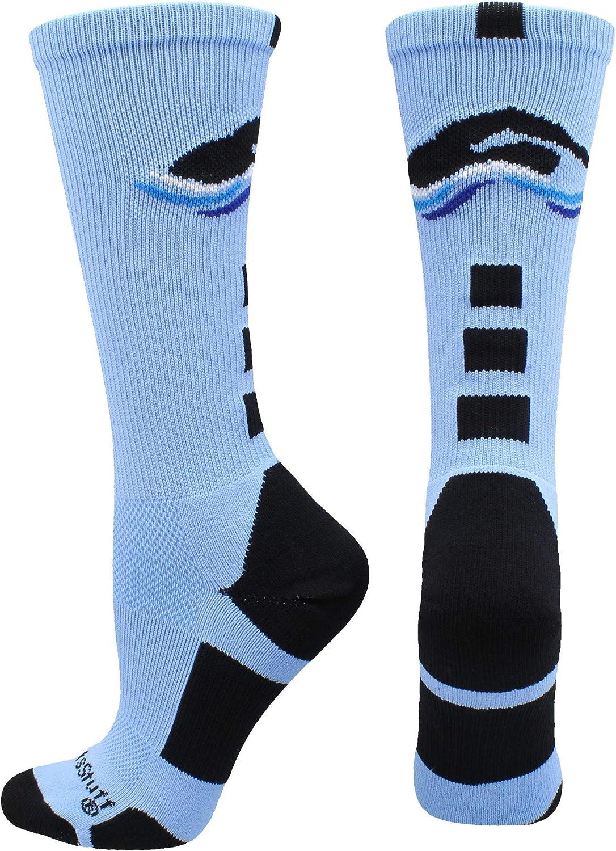 MadSportsStuff Swimmer Logo Athletic Crew Socks