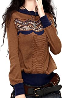 Artka Women's Vintage Knitted Wool Blend Pullover Long Sleeve Floral Sweater Tops Coffee