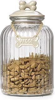 House of Paws HP884ML Woof Bone Glass Treat Jar Mink, Large