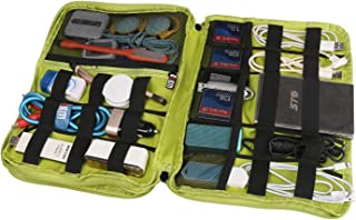 BUBM Travel Gear Organizer, Universal Double Layer Electronics Accessories Bag (Blue & Green)