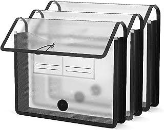 BluePower Pochette Plastique A4, 3 Pcs Pochette Porte Document Transparente Chemise Polypropylène, Enveloppe Extensible Fi...