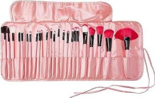 Kit 24 Pincéis Maquiagem Pincel Estojo Profissional Blush Rosa