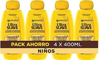 Garnier Ultra Suave Champú Iluminador con Camomila y Miel de Flores para Niños Cabellos Claros y Rubios 400 ml - Pack de ...