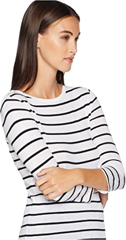 Classic Stripe Elbow Sleeve Crew
