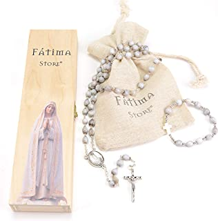 Rosario Lágrimas de San Pedro, con caja de madera y bolsa de lino. Collar colgante y pulsera de Lágrimas de San Pedro