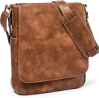 Purple Relic Vintage Look Leather Tablet Man Bag, Sling Bag, Crossbody Messenger Satchel (5 Vintage Brown)