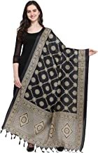 Kanchnar Women's Black Bhagalpuri Silk Printed Dupatta Scarf Stole Wrap