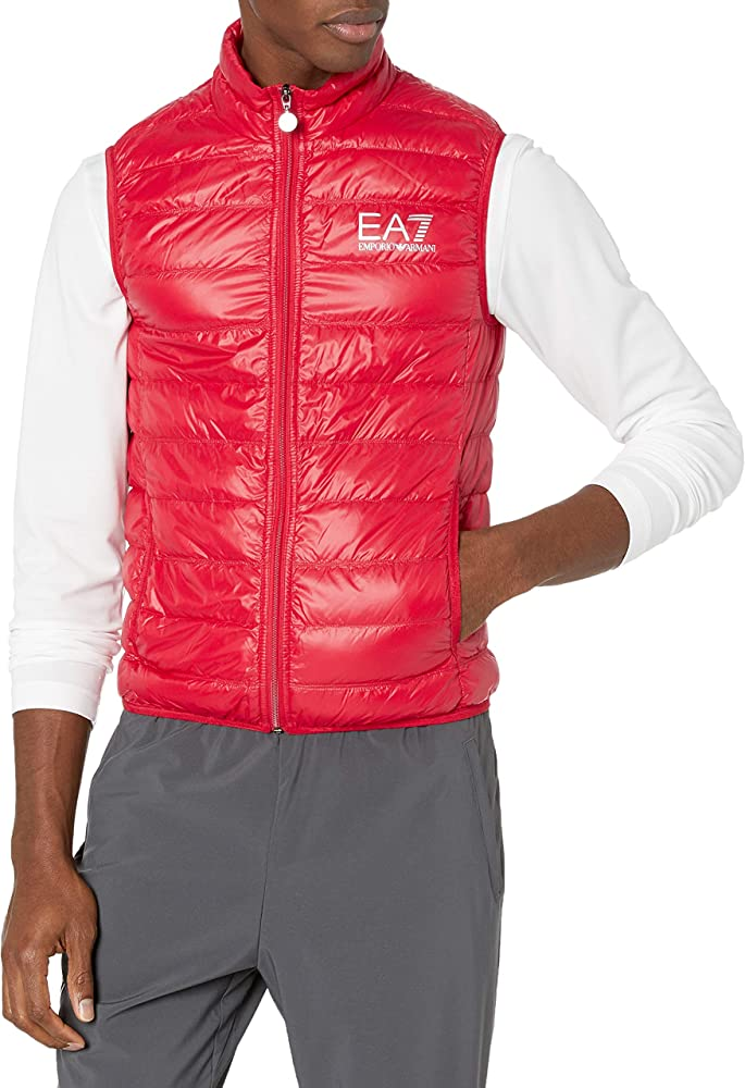 Emporio armani ea7, core logo zip down vest,gilet piumino per uomo,imbottito con piume d`anatra 140427