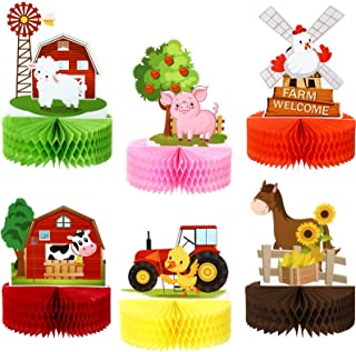 6 Pieces Farm Animals Honeycomb Centerpieces Farm Themed Cake Balls Table Toppers Barn Party Supplies Indoor and Outdoor T...