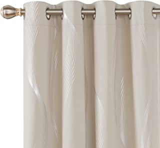 Deconovo Thermal Insulated Blackout Curtains Room Darkening Foil Print Wave Grommet Window Drapes Grommet Curtain for Bedroom 52x90 Inch Light Beige 2 Panels