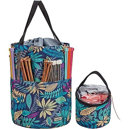 Knitting project bags 3-piece set including travel yarn bag drawstring knitting organizer knitting supplies and tools