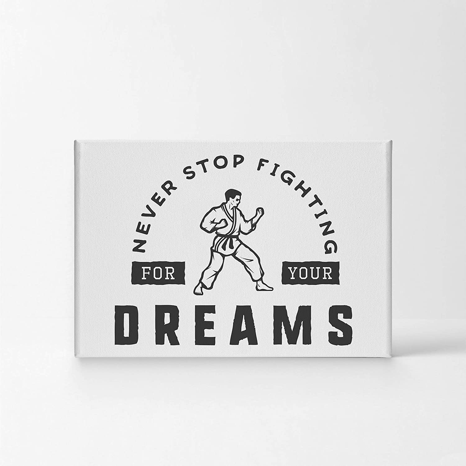 Amazon Com Smile Art Design Never Stop Fighting Quote Black And White Motivational Canvas Wall Art Inspirational Wall Art Entrepreneur Quote Print Office Living Room Decor Artwork Gift Ready To Hang 8x12 Posters
