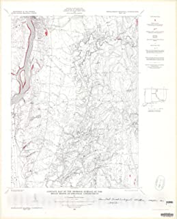 Historic Pictoric Map : Contour map of The Bedrock Surface of The Broad Brook Quadrangle, Connecticut, 1963 Cartography Wall Art : 20in x 24in