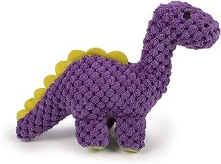 goDog Dinos Checkers Bruto with Chew Guard Technology Plush Dog Toy, Mini, Purple