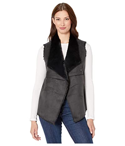 Dylan by True Grit Madison City Faux Sueded Shearling Snap Vest (Black/Black) Women