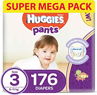 Huggies Active Baby Pants - Size 3, 6-11 kg, 176 Diapers Pants