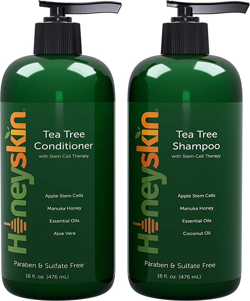 Tea Tree Oil Shampoo Conditioner Set - with Manuka Honey, Stem Cell & Coconut - Dandruff & Hair Loss Treatment - Soothes Itchy Scalp & Hair Thickening - Paraben & Sulfate Free - Made in USA (16oz)