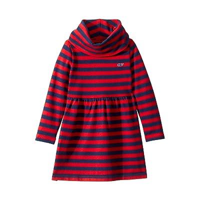 Vineyard Vines Kids Striped Cowl Neck Dress (Toddler/Little Kids/Big Kids) (Red Velvet) Girl