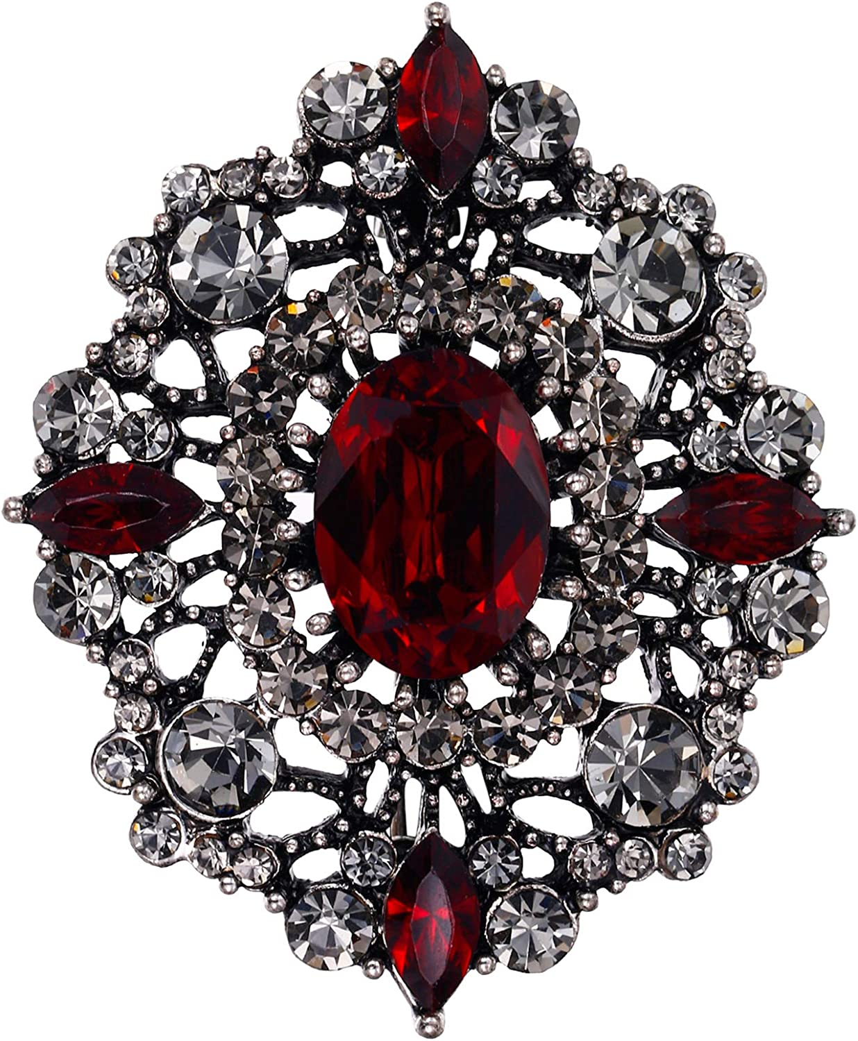 EVER FAITH Women's Oval w/Marquise Crystal Elegant Vintage Banquet Hollow Filigree Brooch
