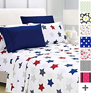 American Home Collection Deluxe 6 Piece Printed Sheet Set of Brushed Fabric, Deep Pocket Wrinkle Resistant - Hypoallergenic (Full, Union Stars)